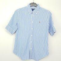 Ralph Lauren Women Shirt Blouse MEDIUM Short Sleeve Blue SLIM FIT Striped Cotton