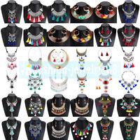 Fashion Women Pendant Crystal Tassel Choker Chunky Statement Chain Bib Necklace