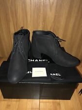 NIB CHANEL Black Leather Booties With Lace Up Details Short Boots/Booties 39.5