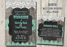 WEDDING Invitation RUSTIC announcement BONUS WISHING WELL TEAL GREEN MINT LACE