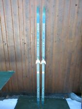 """Wooden 77"""" Long Skis Old White and Blue Finish Signed Sport Great for Decoration"""