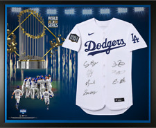 Los Angeles Dodgers Signed 2020 MLB World Series Champions Nike Jersey Framed.
