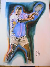 "19"" x 25"" PETE SAMPRAS SIGNED  LITHOGRAPH BY RAYMOND Warsager"