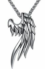 "Men Women Stainless Steel Angel Wing Pendant Necklace Unisex 24"" Link Chain Gift"