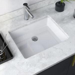 """DeerValley 19"""" Undermount Bathroom Sink Ceramic Rectangle Lavatory Vanity Sink"""