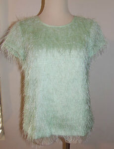 New Ann Taylor 4P Green Top Fuzzy Fringe Cap Sleeve Sweater Lined 4 Petite