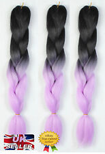 "New 24"" Black & Purple Ombre Dip Dye Kanekalon Jumbo Braid Hair Extensions UK"