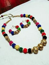 Multicolor Bohemian Style Beaded Necklace with Earrings -  Bollywood Necklace