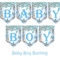 Bunting Baby Boy Peter Rabbit baby Shower Garland Blue Welcome Baby Blue