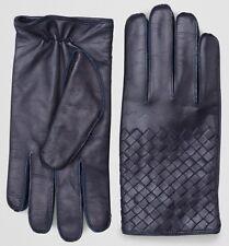 Bottega Veneta Dark Blue Navy Intrecciato Nappa Leather Gloves Size 8 Cashmere