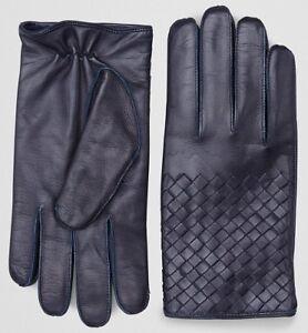 Bottega Veneta Dark Blue Navy Intrecciato Nappa Leather Gloves Size 7.5 Cashmere