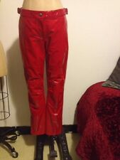 H&M STUDIO COLLECTION 2014 Red Patent Leather Biker Motorcycle PANTS US 8 NWT