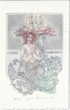 JORIS MOMMEN: Exlibris für Dr. G. Katona, Segelschiff und Meerjungfrau