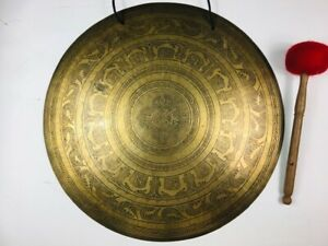 """21 1/2"""" (Heart Chakra) Beautiful Nepalese Carved Healing Gong - 4.03 kg ॐ"""