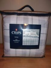 Chaps Home Foxford Gray Plaid 3PC King Comforter Set   NIP