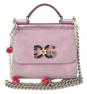 DOLCE & GABBANA Bag SICILY Pink Crystals Crossbody Mini Purse Satchel RRP $2400