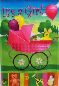"""It's a Girl Outdoor Garden Flag by Premier 12""""x18"""", #1475 New Baby"""