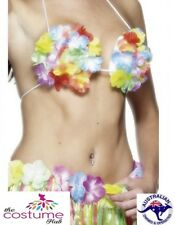 Hawaiian Flowered Bra Tropical Luau Beach Party Multi coloured