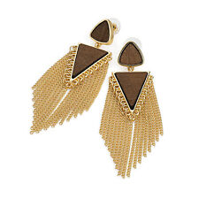 Gold Colour Wood Effect Chain Tassel Earring Ladies Fashion Jewellery