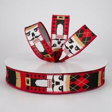 """1 1/2"""" NUTCRACKER WIRED CHRISTMAS RIBBON, BLACK, RED,WHITE,GOLD-5 YARDS OFF ROLL"""