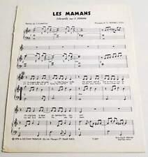 Partition vintage sheet music C. JEROME : Les Mamans * 1978 BARBELIVIEN