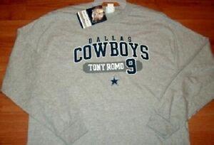 Dallas Cowboys Tony Romo Long Sleeve Jersey Style T-shirt Large Gray NFL