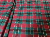 Green Red Black Gold Stripe and Squares Christmas Fabric 1 Yard