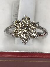 14k Solid White gold Natural Champagne diamond cluster Ring