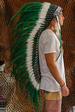 INDIAN HEADDRESS GREEN LARGE FEATHERS Chief War bonnet Costume Native American