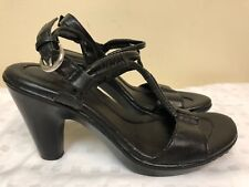 BOC Born Concept Black Leather Strappy Sandals Heels Women's sz 9