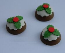 12 edible CHRISTMAS 3D PUDDINGS HOLLY cupcake cake topper decoration XMAS GIFT