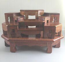 Set 9 Mini Altar Table Thai Buddha Phra Dollhouse handmade craft Red Wood Amulet