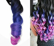 "Full Set Clip in Human Hair Extensions Pastel Purple Pink Ombre Rainbow 18"" long"