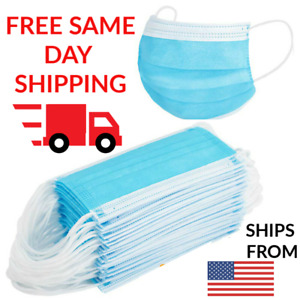 Face Mask [Box of 50] 3-Ply Disposable PPE Breathable Cotton Filter w/ Earloop