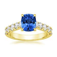 1.96 Ct Genuine Cushion Blue Sapphire Ring 14K Yellow Gold Diamond Rings Size L