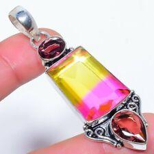 """Ametrine & Amethyst Gemstone 925 Sterling Silver Jewelry Pendant 2.7"""" T2935"""