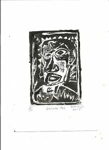 2017 Original linocut .Sad Berliner .Die Brucke German Expressionist influences