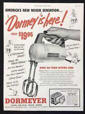 1952 Vintage Print Ad DORMEYER Mixer Food Preparation B&W Image Hand