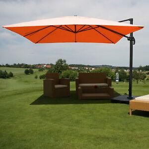Gastro-Luxus-Sonnenschirm HWC, Ampelschirm Alu terrakotta mit Ständer, drehbar