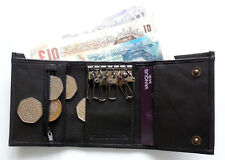 SMALL leather key trifold wallet or purse with note section coins credit cards