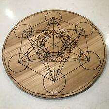 Large METATRON Cube. 500mm Round Oak Veneer Board. Sacred Geometry Crystal Grid.