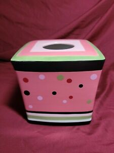 Deco Dots Tissue Holder Pink, black, green, white by Waverly Vanity
