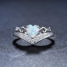 Love Heart White Fire Opal & Zircon Platinum Plated Wedding Ring Sz 6 7 8 9 10