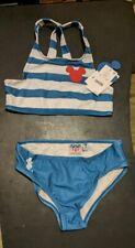Girls' Disney Mickey Mouse Striped Bikini Set by Junk Food, Size Small, Nwt