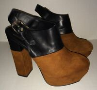 DOLCE VITA Joanna Brown Suede Black High Heeled Platform Clogs NEW Womens Sz 7.5