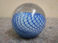 2000 GES Glass Eye Studios Blue Swirl Art Glass Paperweight