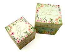 2 Punch Studio Decorative Square Nesting Boxes Floral Blessings 62738 xs