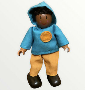 African American Boy Brother Wooden Doll House Happy Family Dollhouse Figure Toy