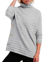 Ladies Grey Striped Polo Neck Jumper In UK Plus Sizes 20 -22/eu 46-48