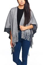 WOMENS BOHO Fringe Poncho Sweater Cardigan Coat Cape Shawl Knit Jacket One Size